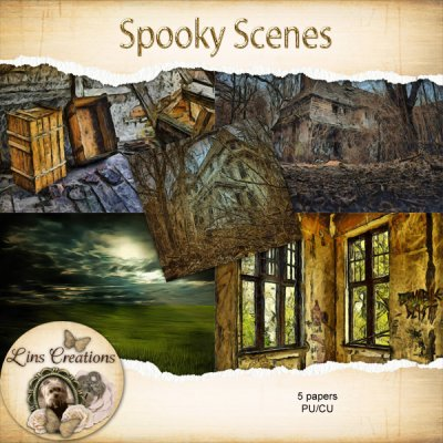 Spooky Scenes papers (CU) by Lins Creations